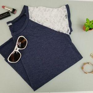 Easel Lace Sleeve Tee, Navy, Medium